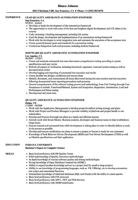 quality assurance engineer resume  williamsonga