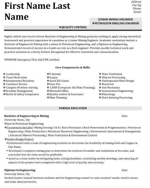 quality control engineer resume sample