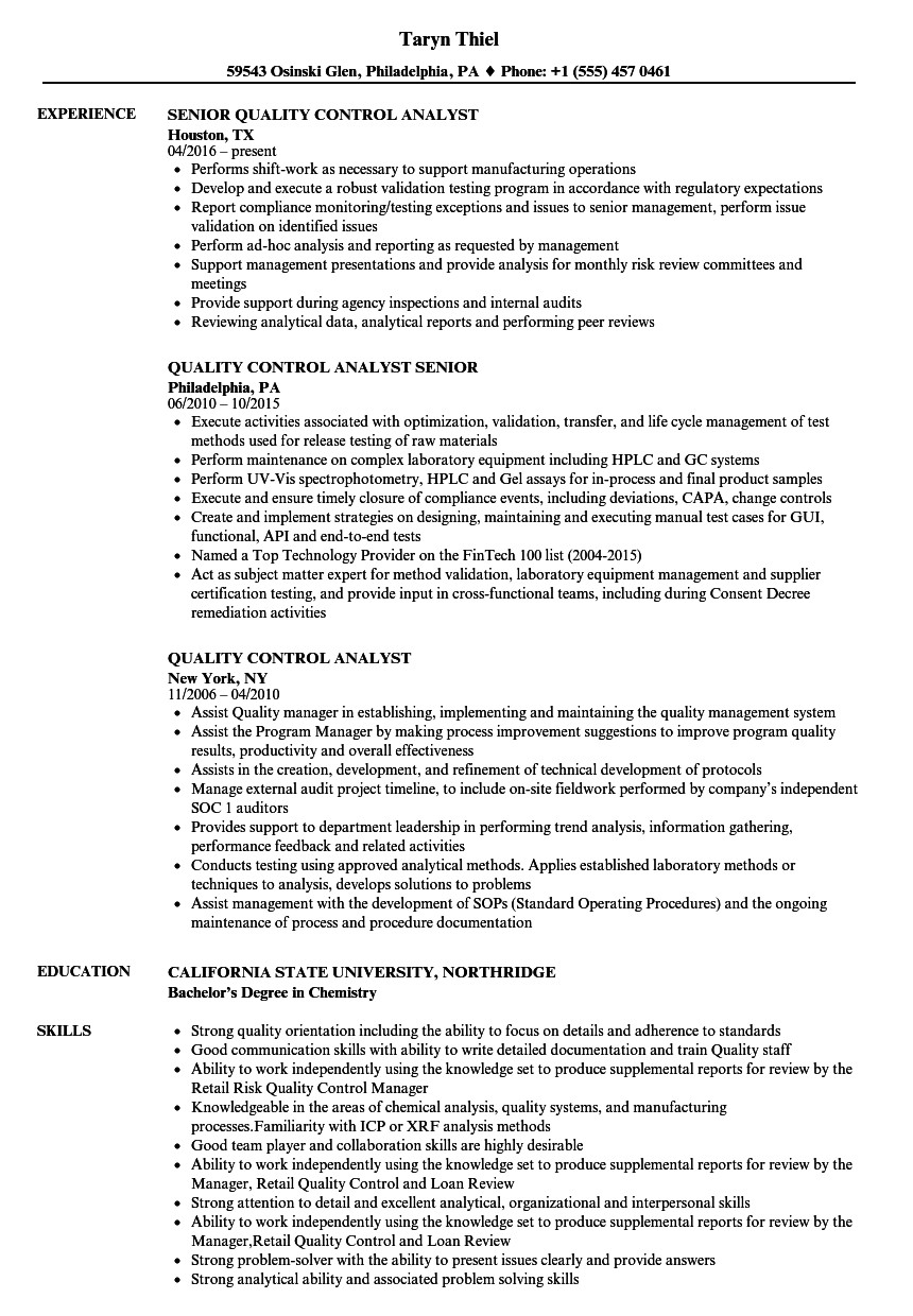 quality control analyst resume sample