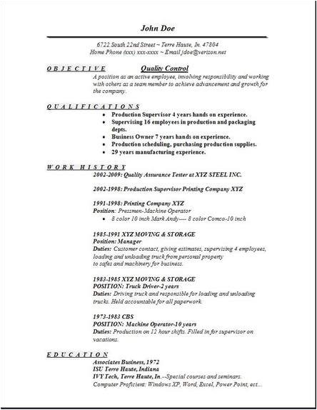 Quality Control Resume In Word format Quality Control Resume Occupational Examples Samples Free