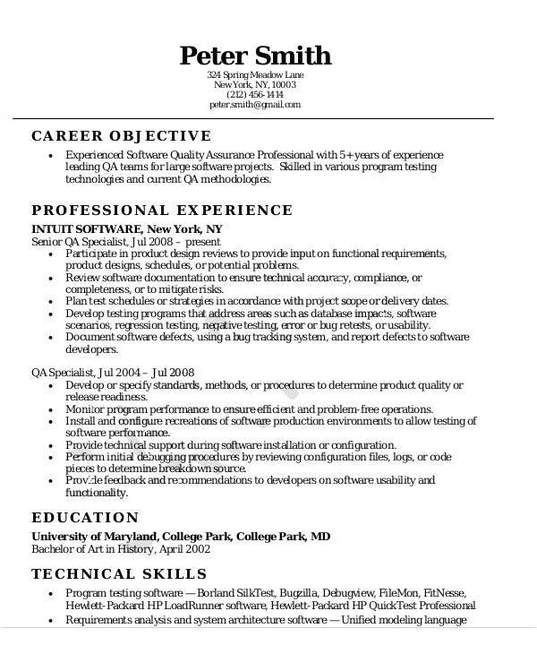 quality assurance resume