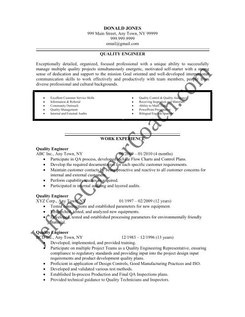 download the quality engineer resume sample three in pdf