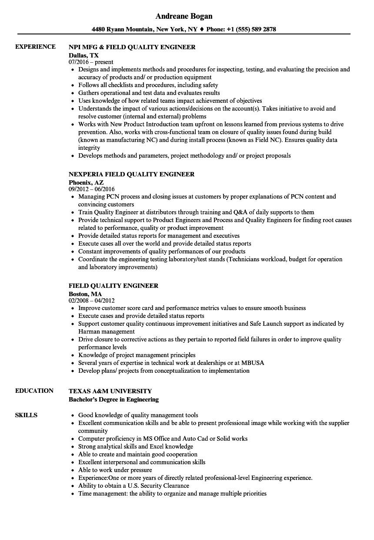 field quality engineer resume sample