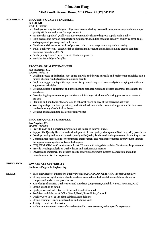 process quality engineer resume sample