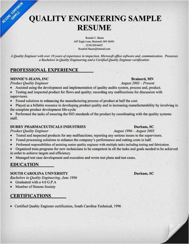 Quality Engineer Resume Doc Quality Engineer Resume Sample Doc Resume Template