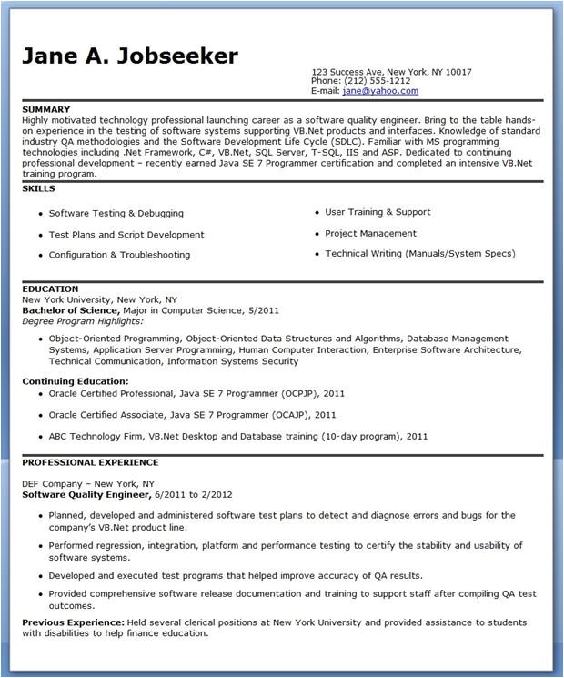 quality engineer resume template