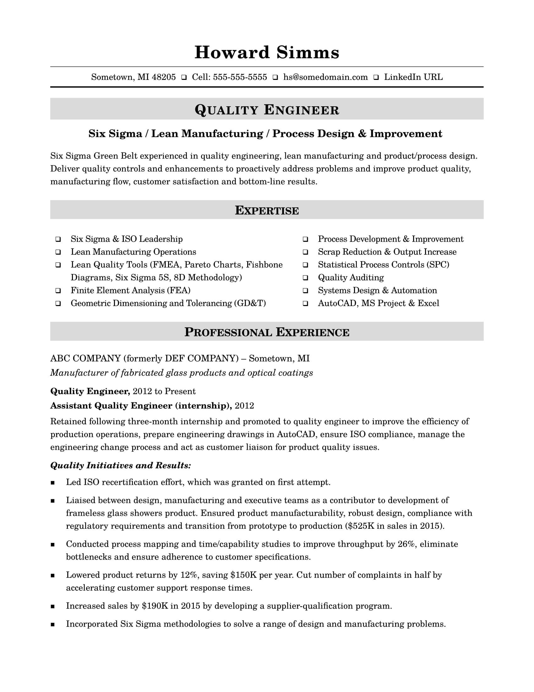 sample resume quality engineer midlevel