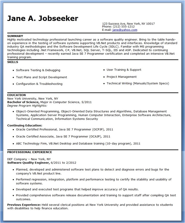 Quality Engineer Resume Quality Engineer Resume Template Resume Downloads