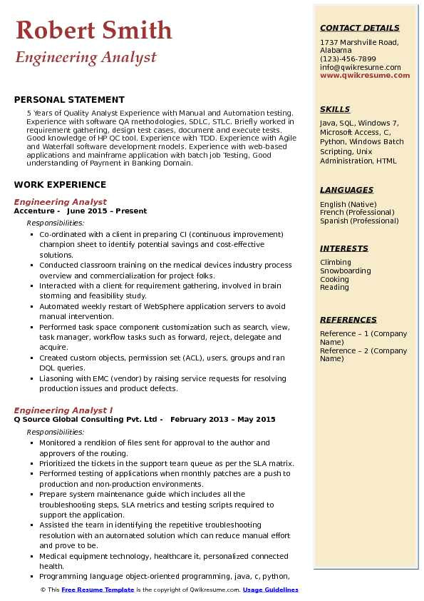 Ran Engineer Resume Engineering Analyst Resume Samples Qwikresume