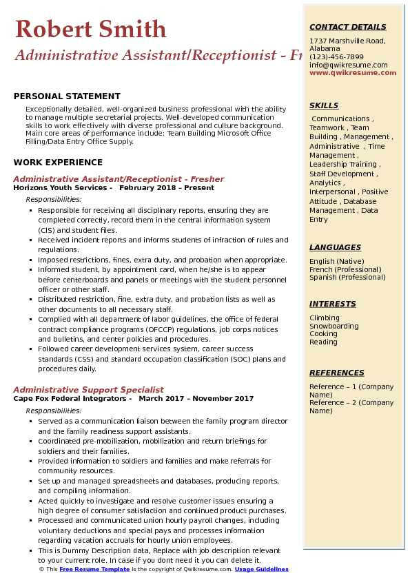administrative assistant receptionist