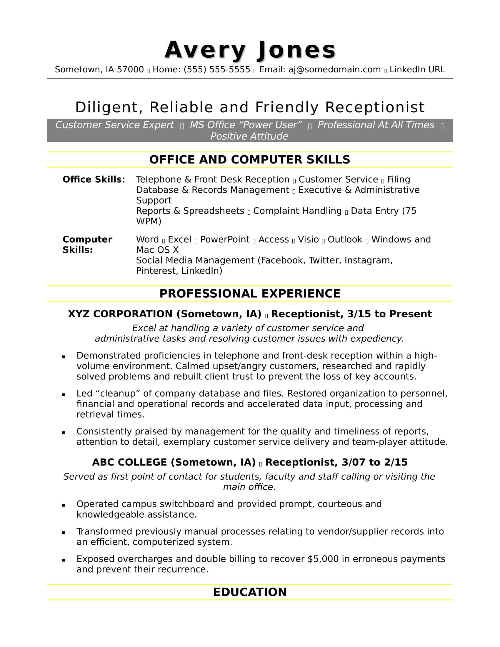 sample resume receptionist