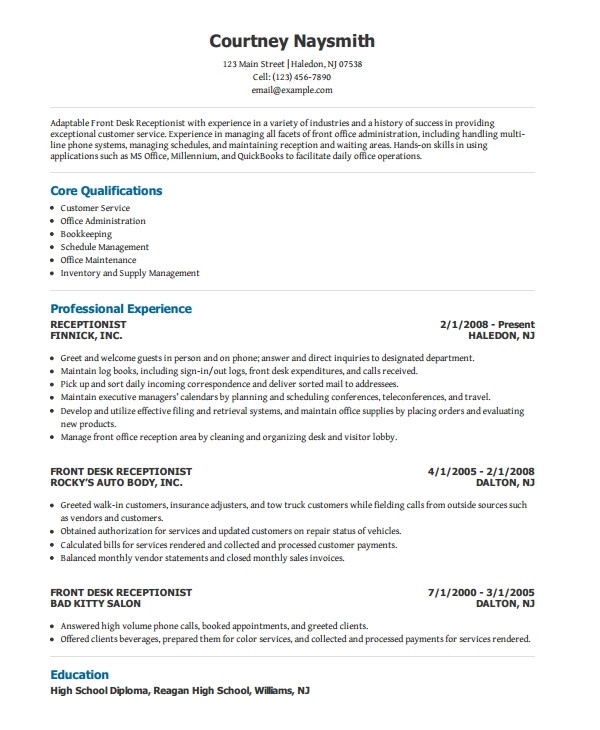 Receptionist Resume Word format Receptionist Resume Template 8 Free Word Pdf Document