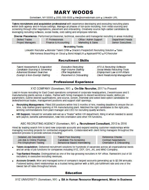 Recruiter Resume Word format Recruiter Resume Sample Monster Com