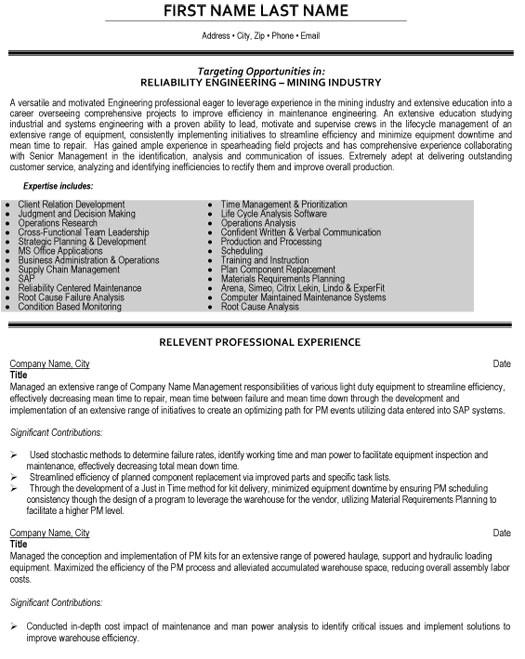 Reliability Engineer Resume Reliability Engineer Resume Sample Template