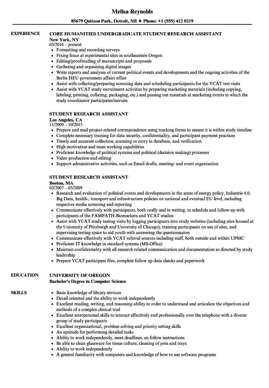 Research Student Resume Student Research assistant Resume Samples Velvet Jobs