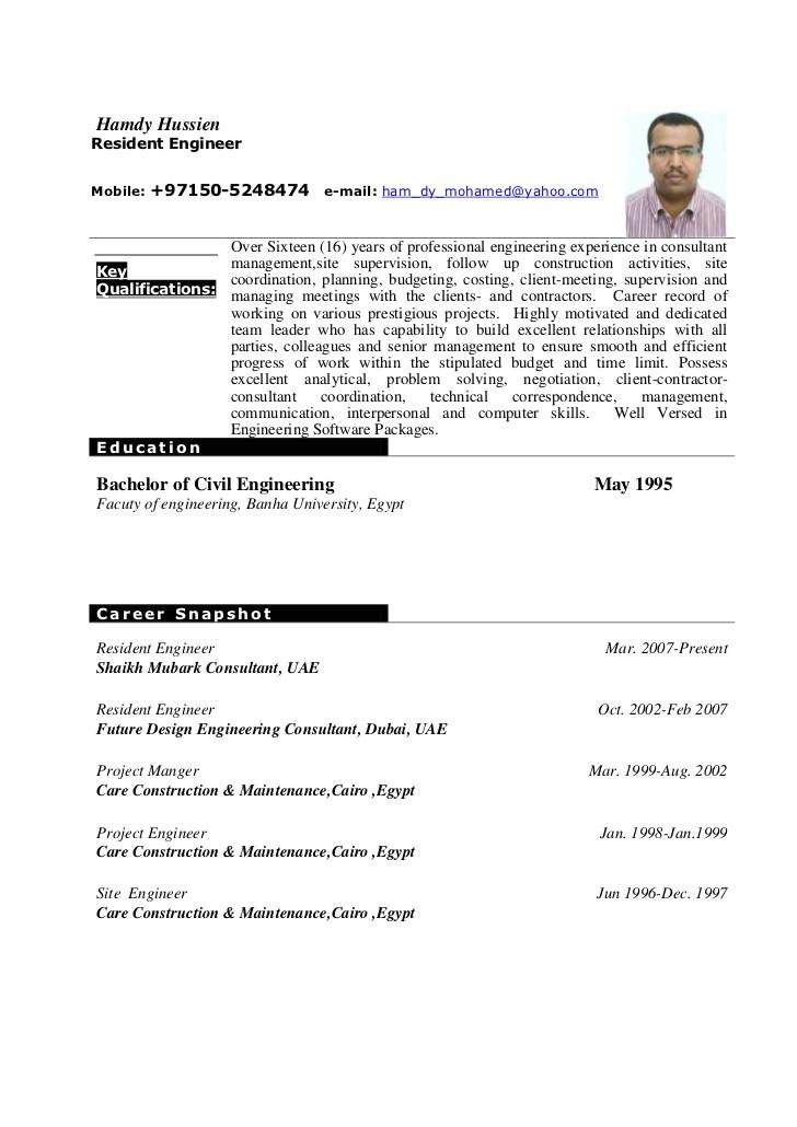 hamdy hussien cv resident engineer