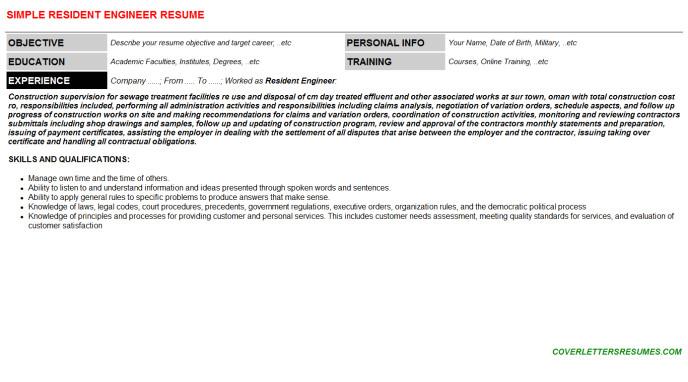 resident engineer 114802