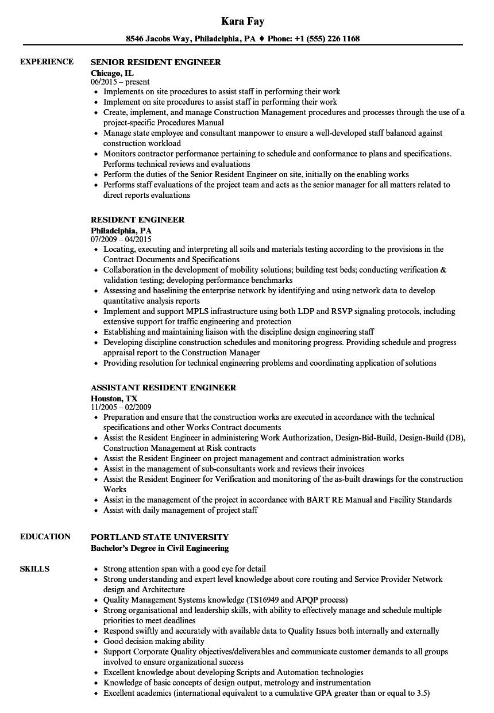 resident engineer resume sample