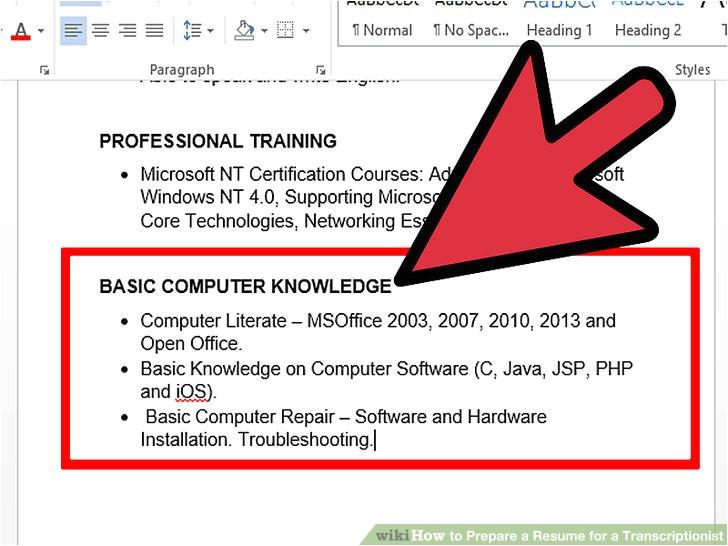 prepare a resume for a transcriptionist