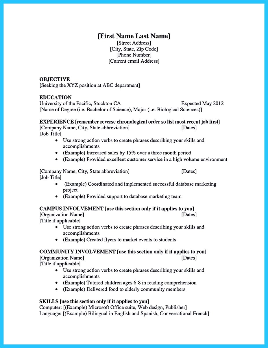 best current college student resume no experience