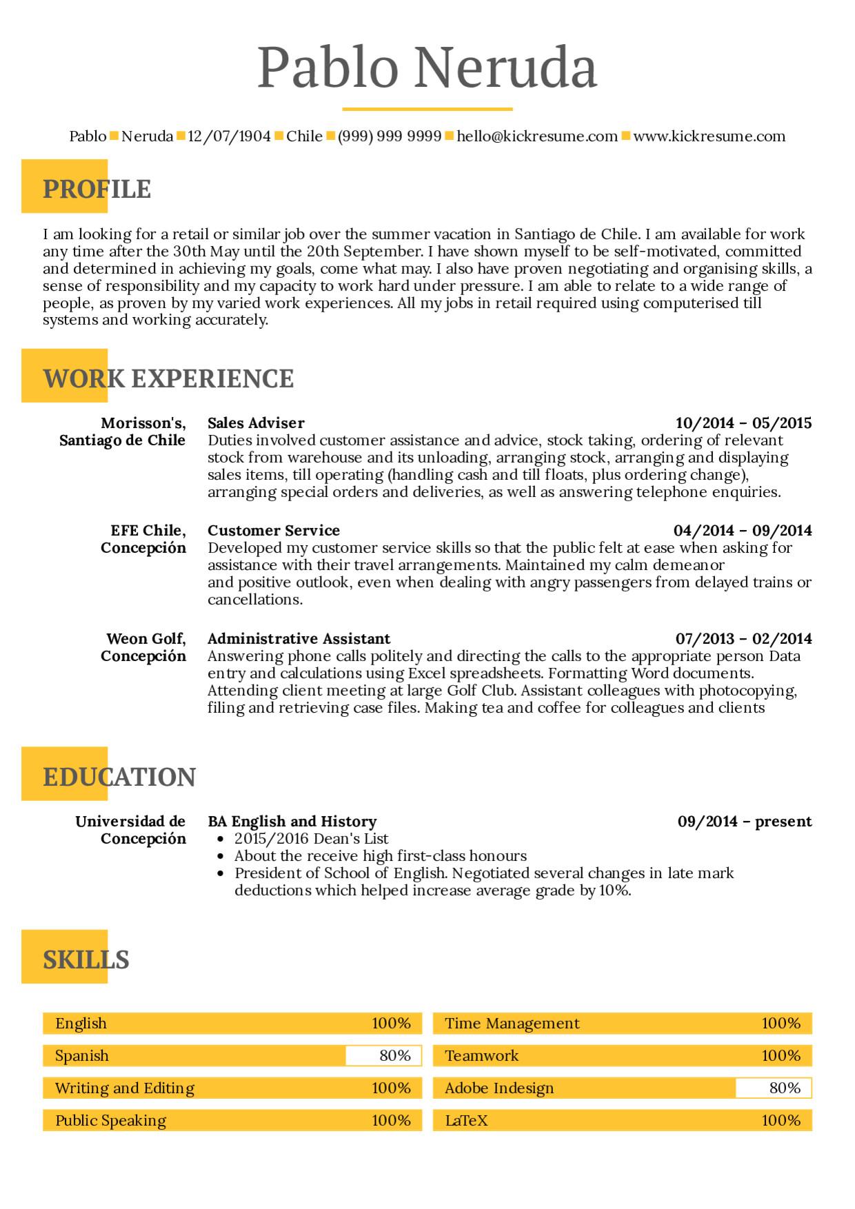 student summer job resume sample