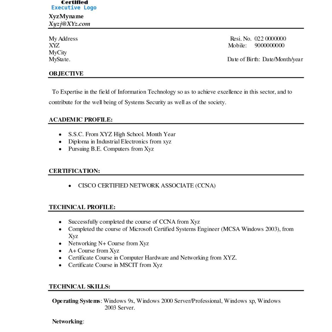 Resume for Bca Student 12 Cv Of Bca Student Letter Setup