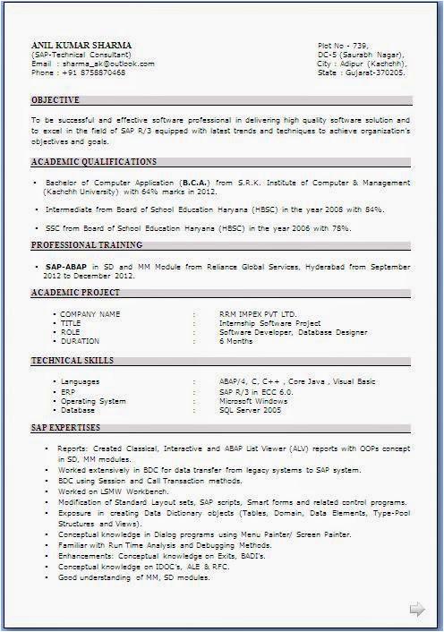 resume format download for bca