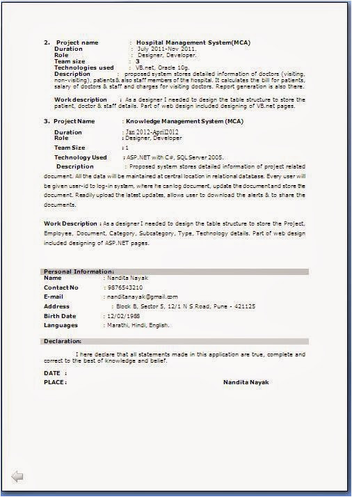 resume format for bca students