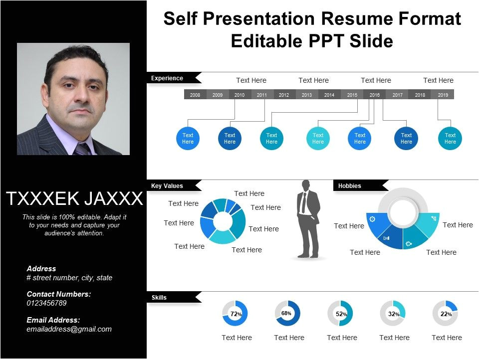 self presentation resume format editable ppt slide