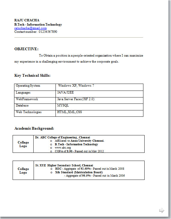 b tech fresher resume examples