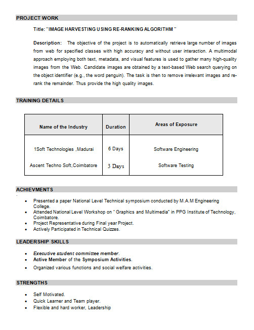 resume format for freshers mca