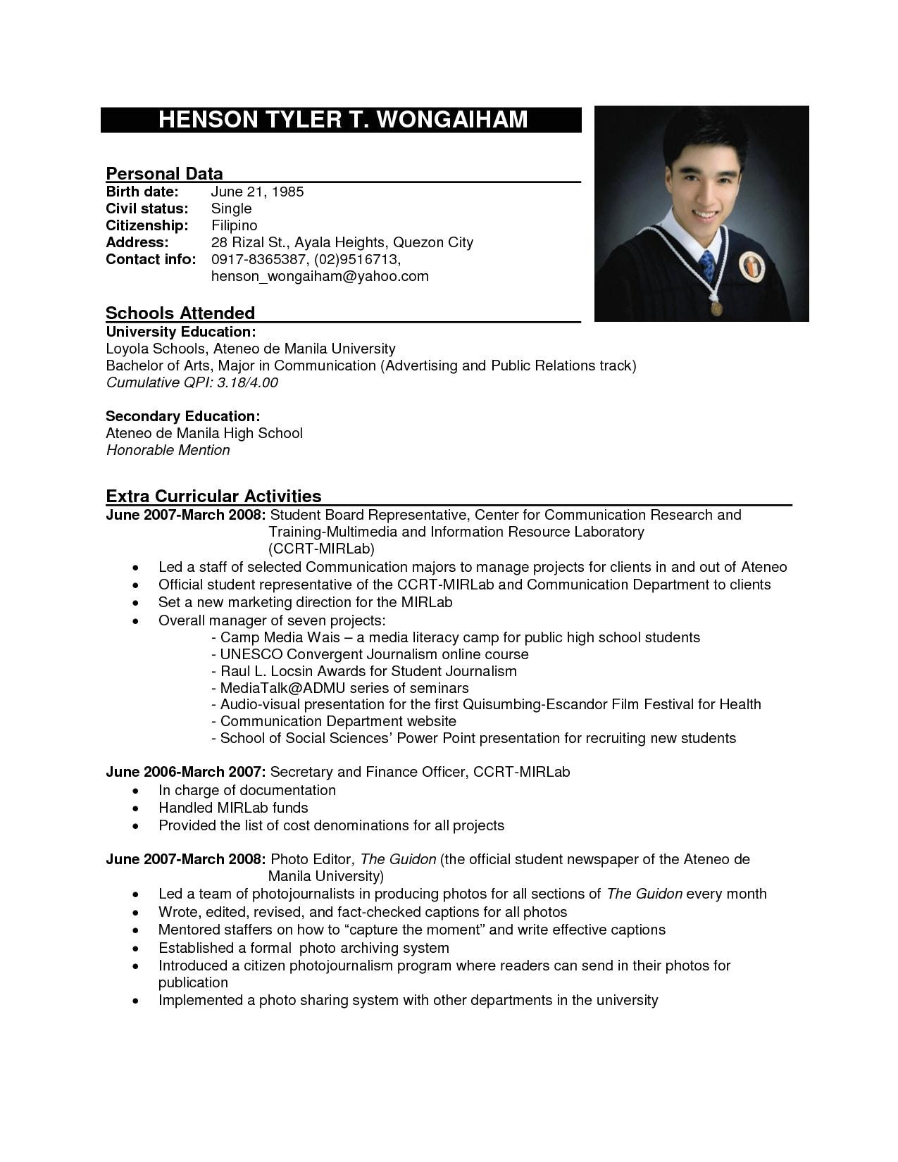 12 example of job applying resume