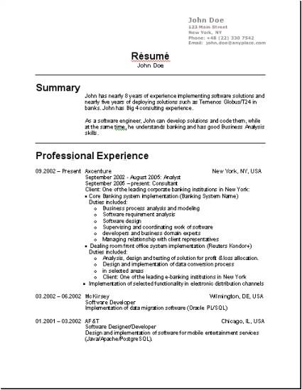 Resume format for Applying Job In Usa Cv Type Us