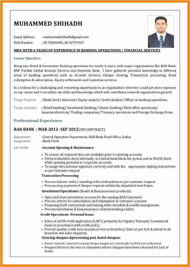 5 examples of resume for a bank job