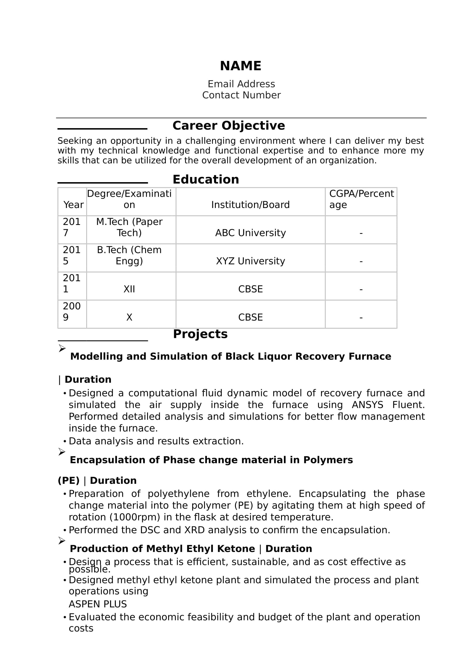 Resume format for Bsc Chemistry Freshers Bsc Chemistry Fresher Resume Sample Resume Samples Free