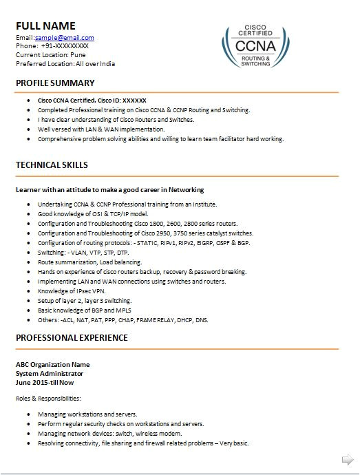 resume format for ccna network engineer fresher