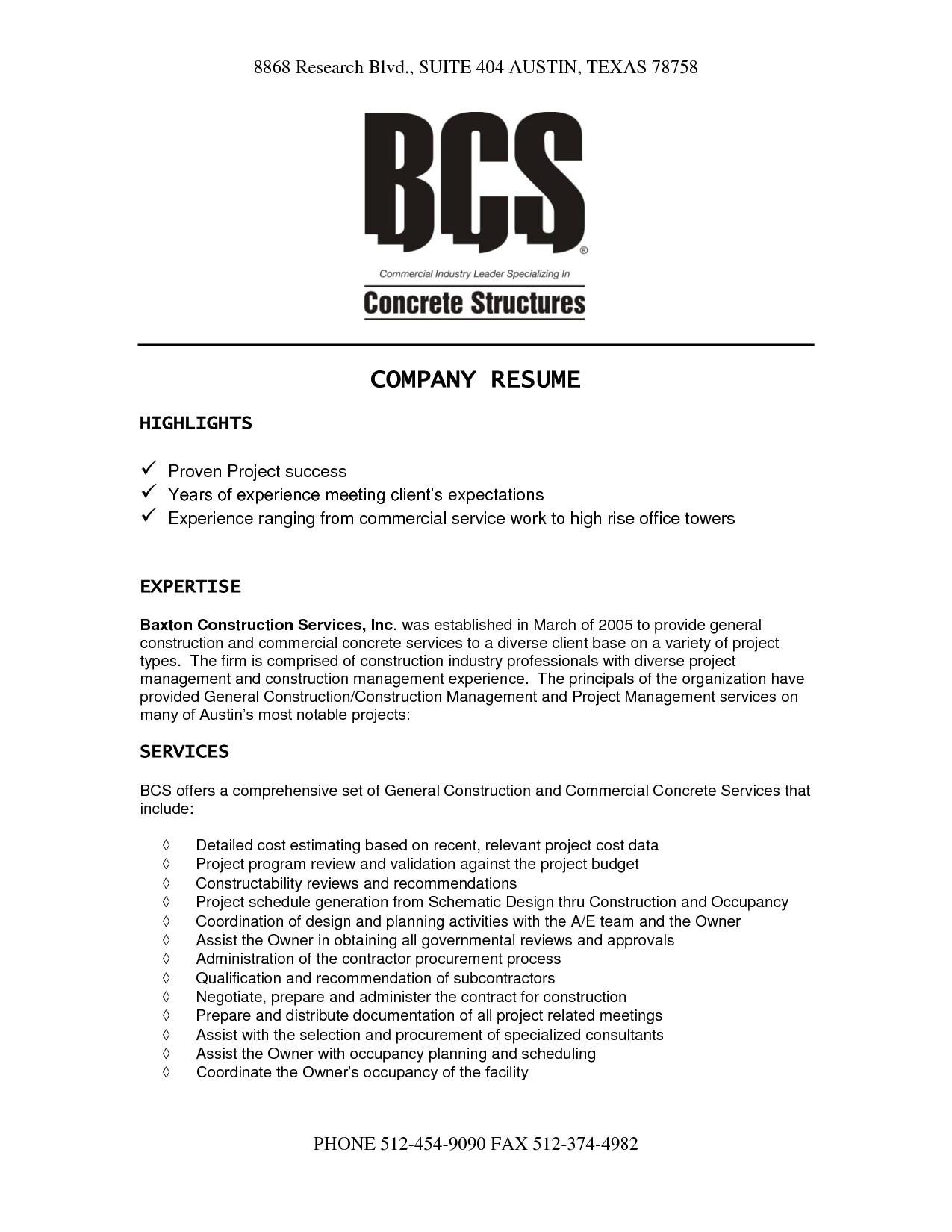 Resume format for Company Job Construction Company Resume Template Resume Templates
