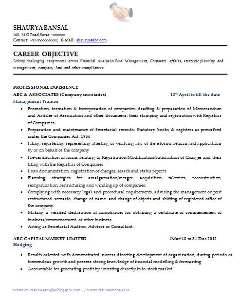 best resume format for company secretary