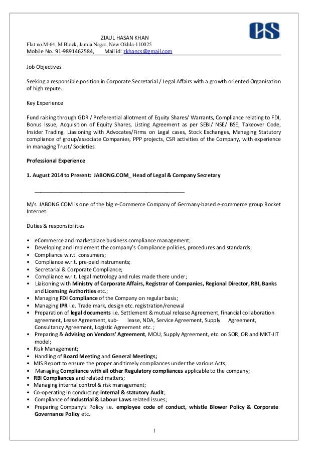 resume company secretary ziaul 1
