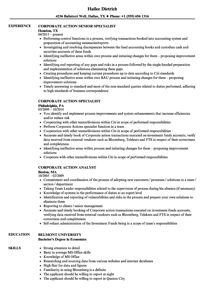 corporate action resume sample