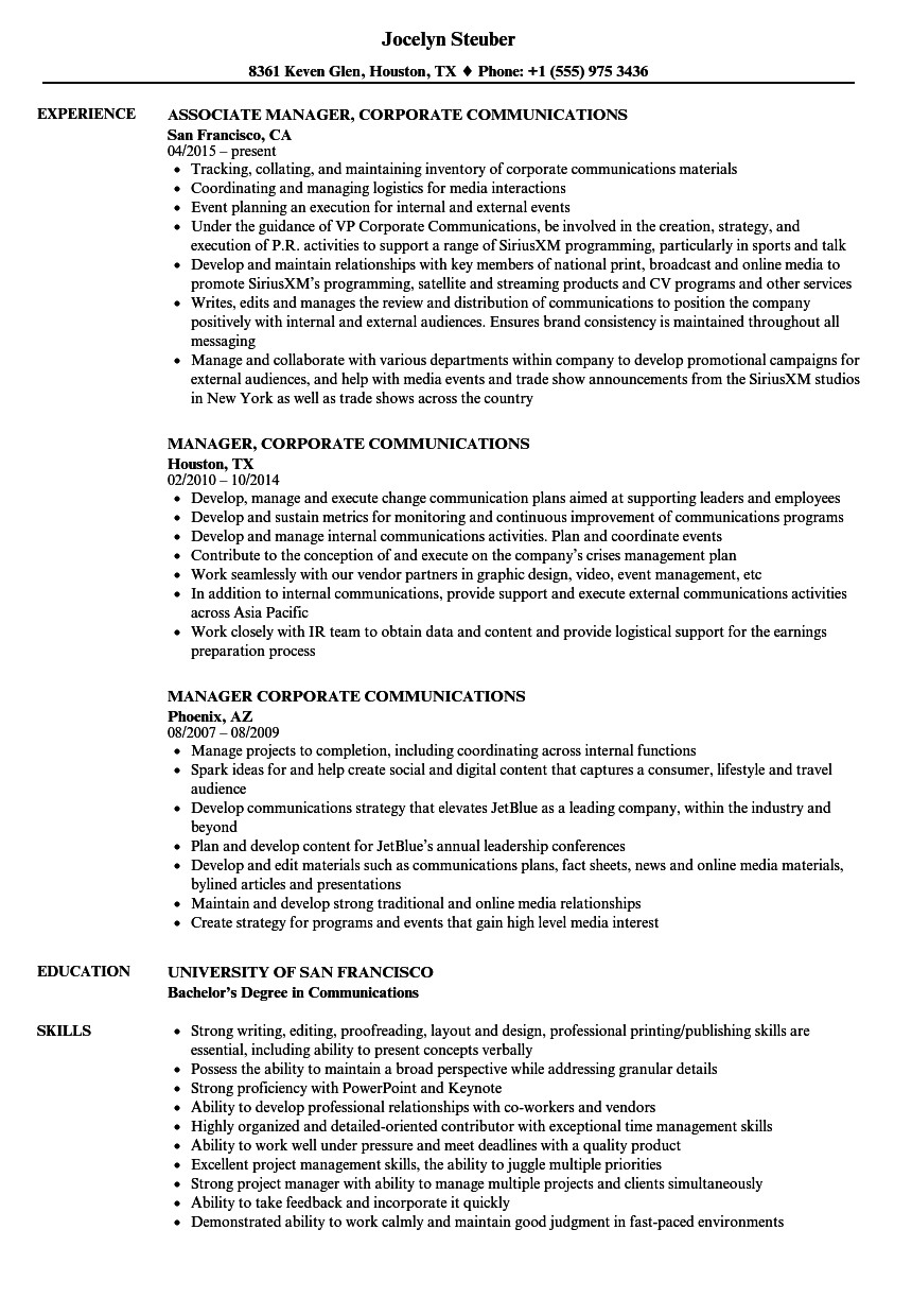 manager corporate communications resume sample