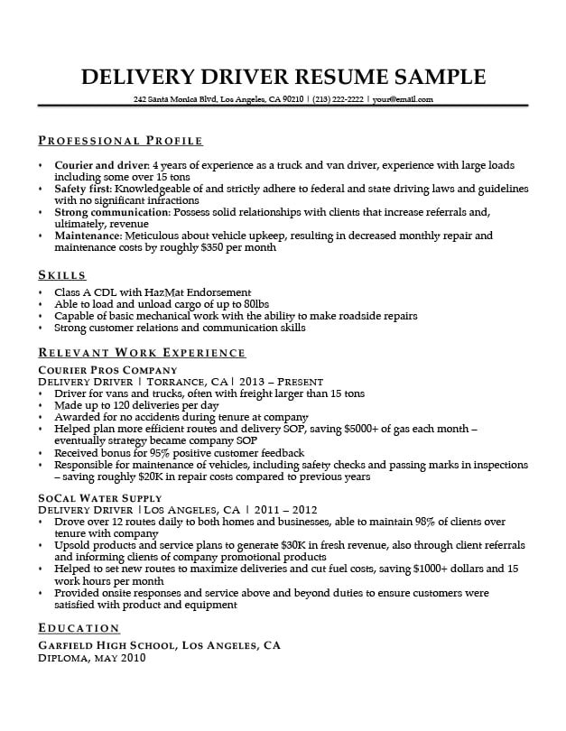 Resume format for Driver Job Delivery Driver Resume Sample Resume Companion
