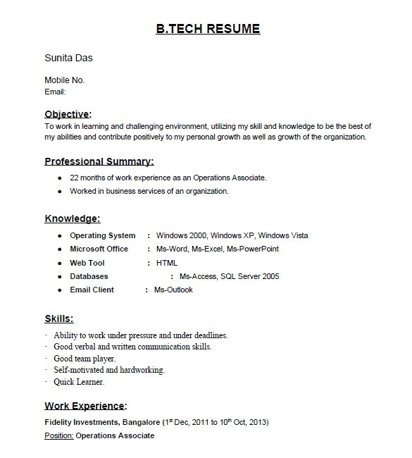 Resume format for Fresher Quora is there Any Site for Resume Samples for Freshers Quora