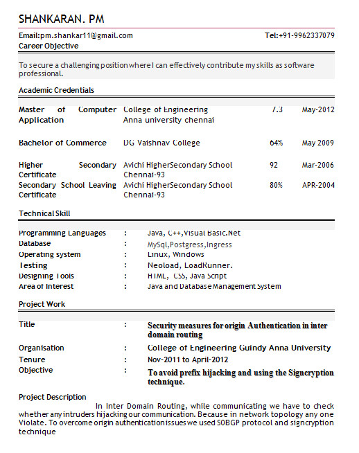 resume format for freshers