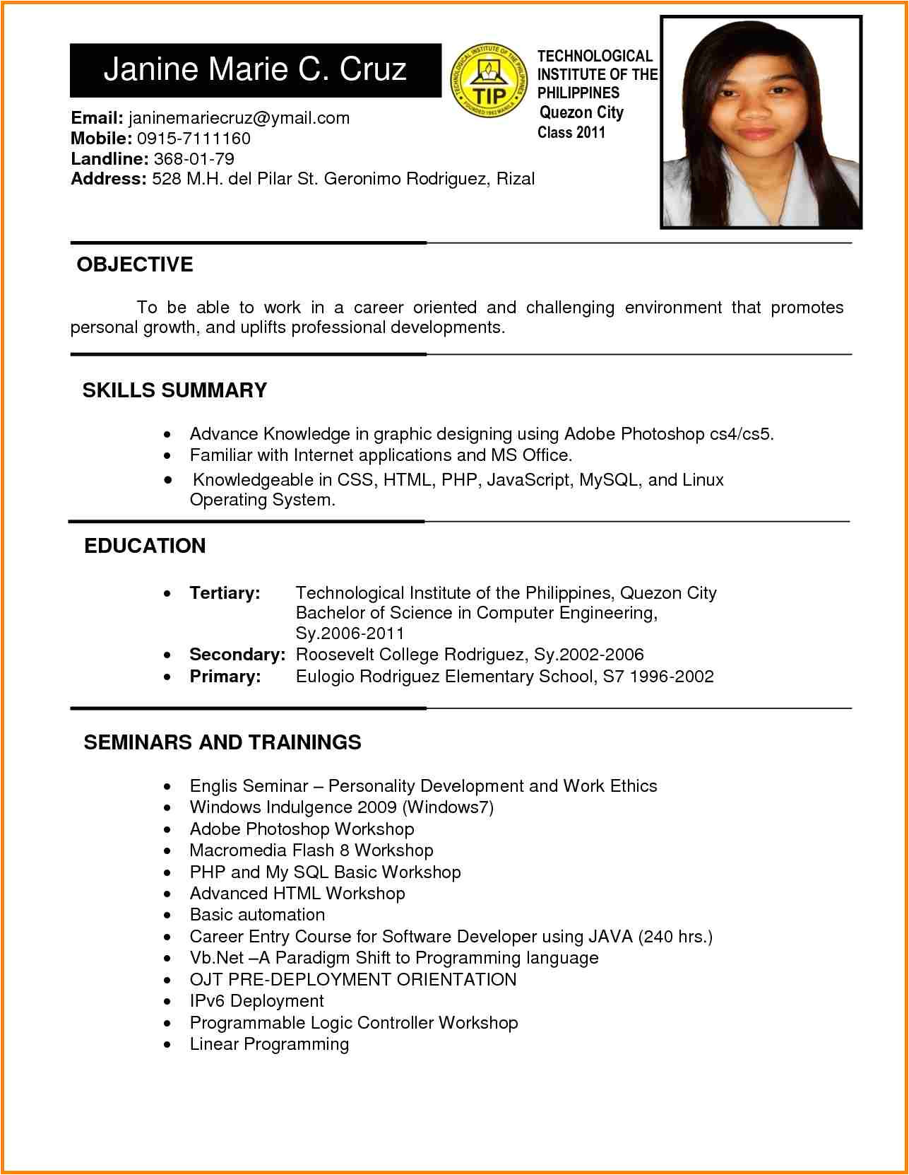 Resume format for Government Job Philippines 6 Example Of Filipino Resume format Penn Working Papers
