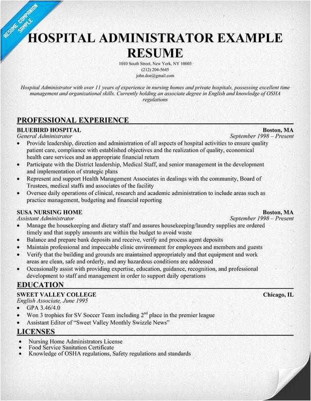 Resume format for Hospital Job Hospital Administrator Resume Resumecompanion Com