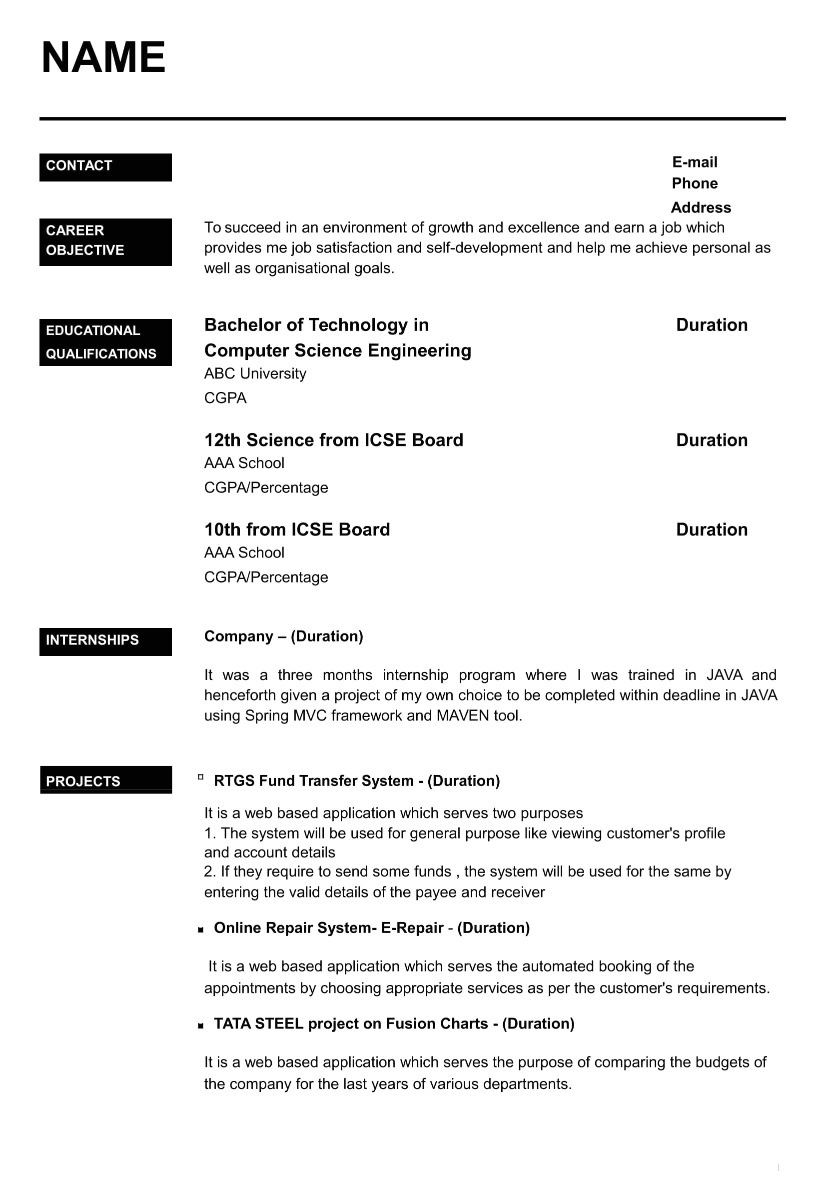 Resume format for Job Fresher Word 32 Resume Templates for Freshers Download Free Word format