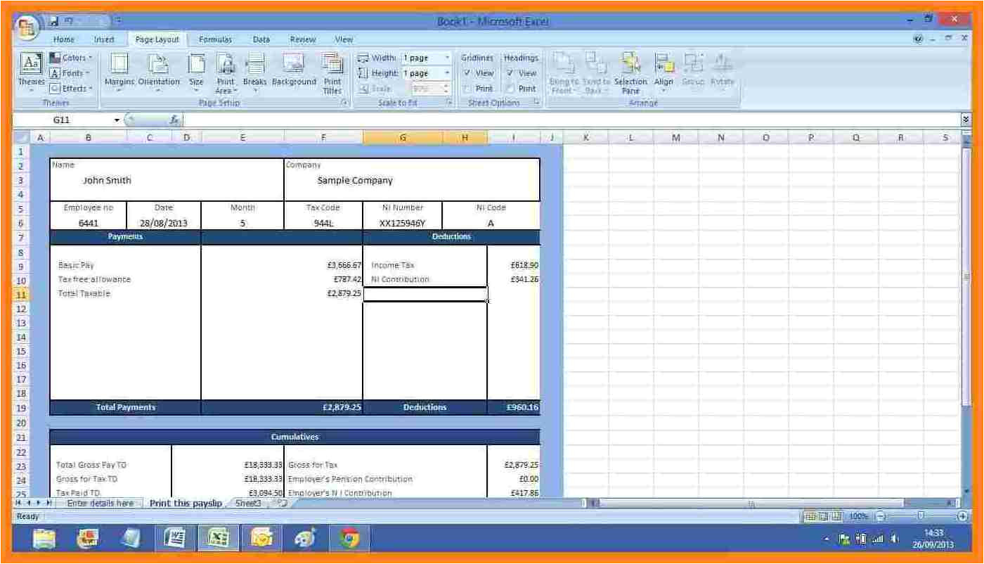 6 free salary payslip template excel