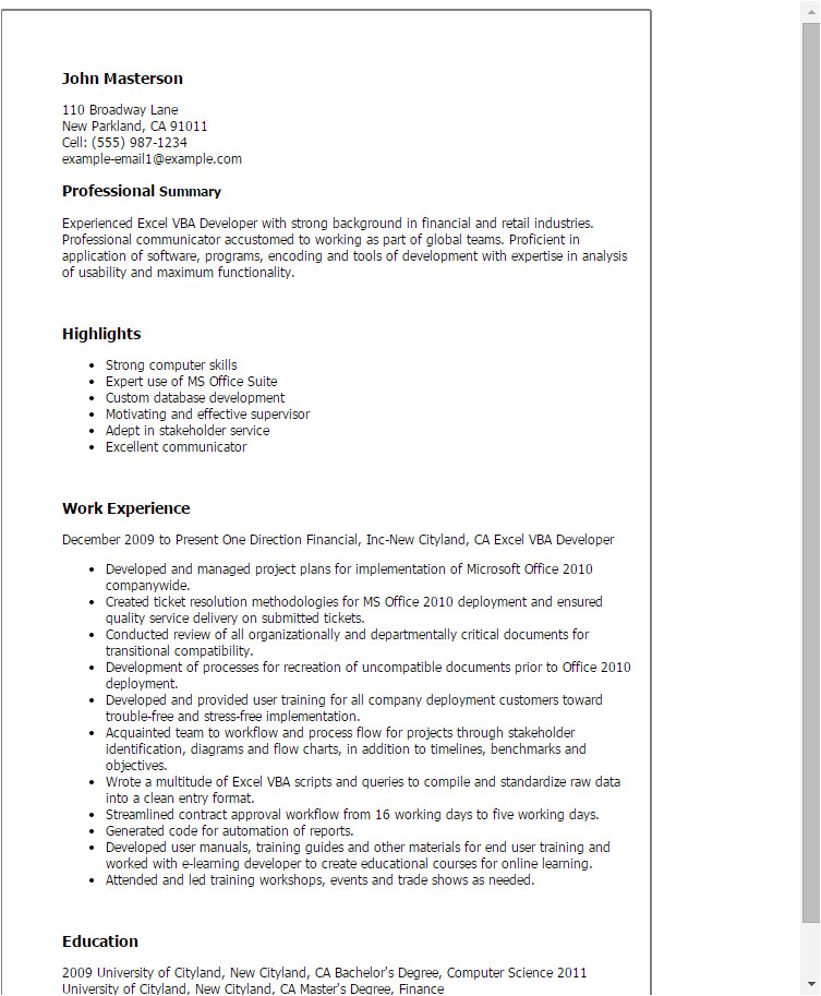 resume template excel 1854
