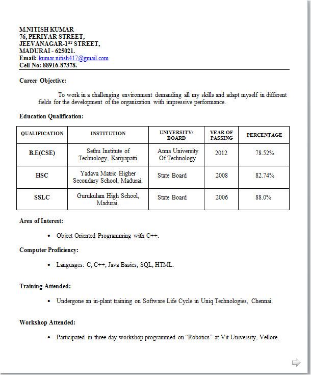 Resume format for Job Interview for Freshers Fresher Resume Sample for It Jobs